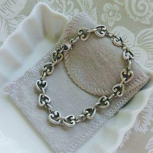 """James Avery Retired Heart Link Bracelet 7.5"""""""